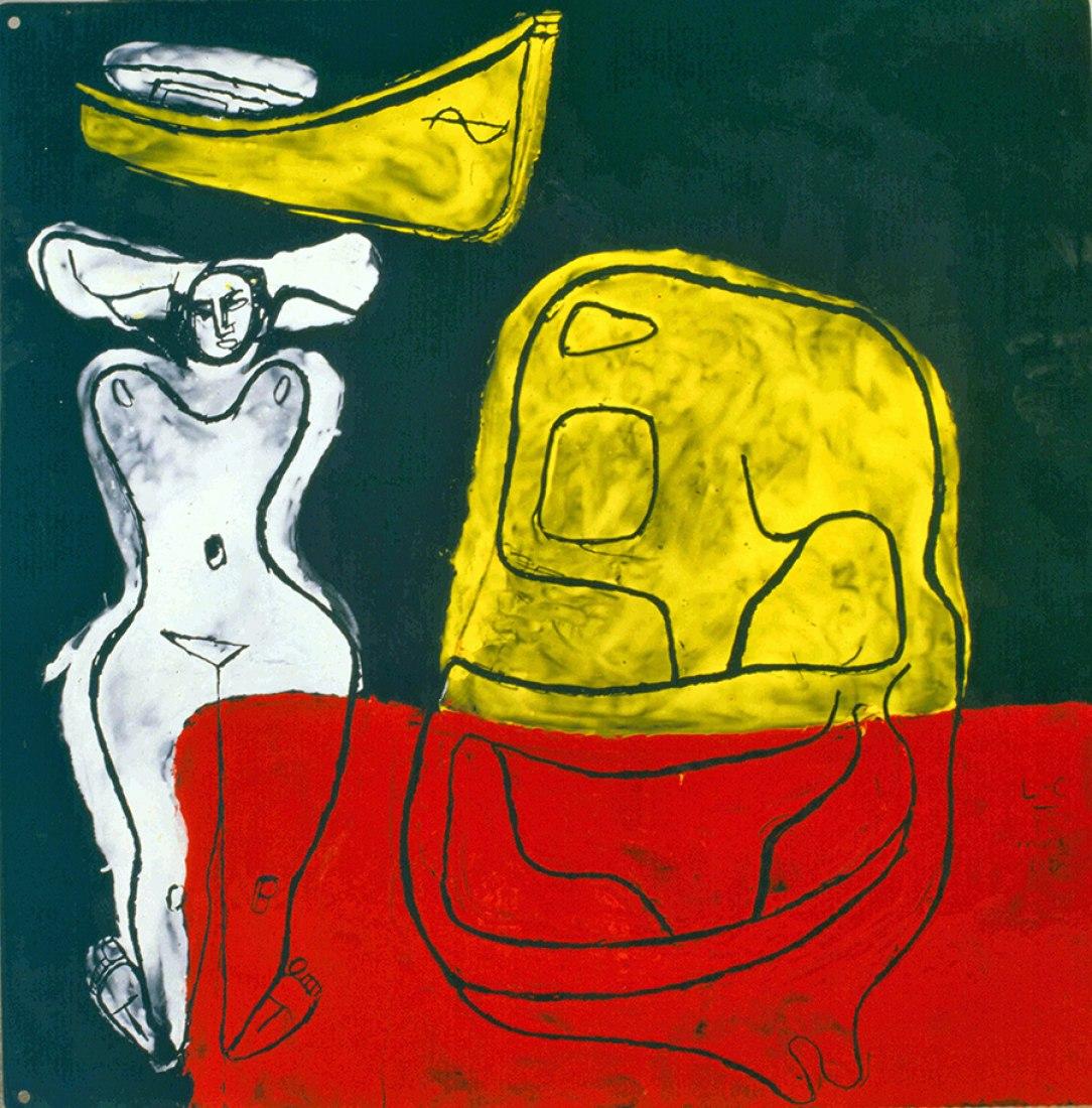 Femme en blanc, barque et coquillage, Le Corbusier,1965, 0,53x0,53m. ©Fondation Le Corbusier-ADAGP, 2013.