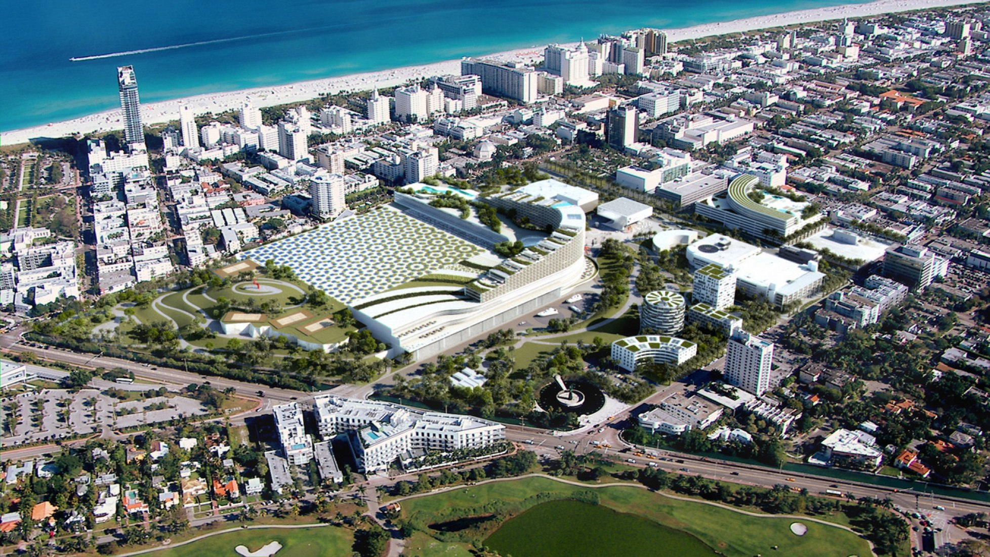 Vista de pajaro. Miami Beach Convention Center. Imagen cortesía de OMA.