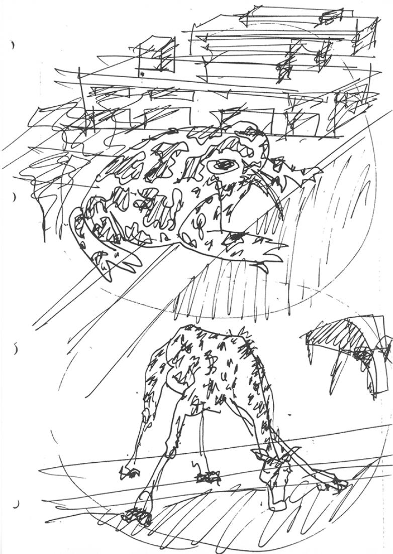 Sketch by Eduardo Souto de Moura. Multipurpose Pavilion in Viana do Castelo.