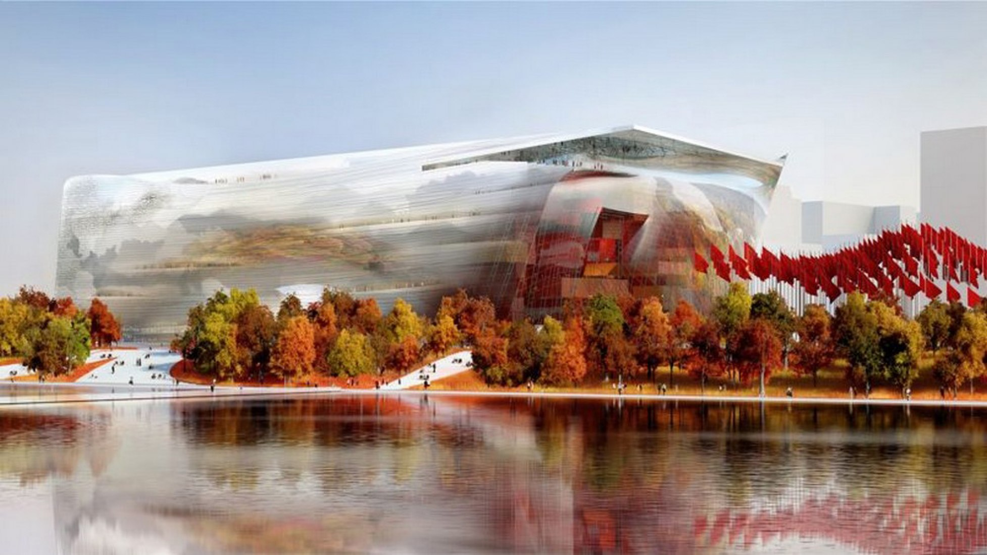 A render for Jean Nouvel's NAMOC museum. Image by Ateliers Jean Nouvel / Beijing Institute Architecture Design (BIAD).