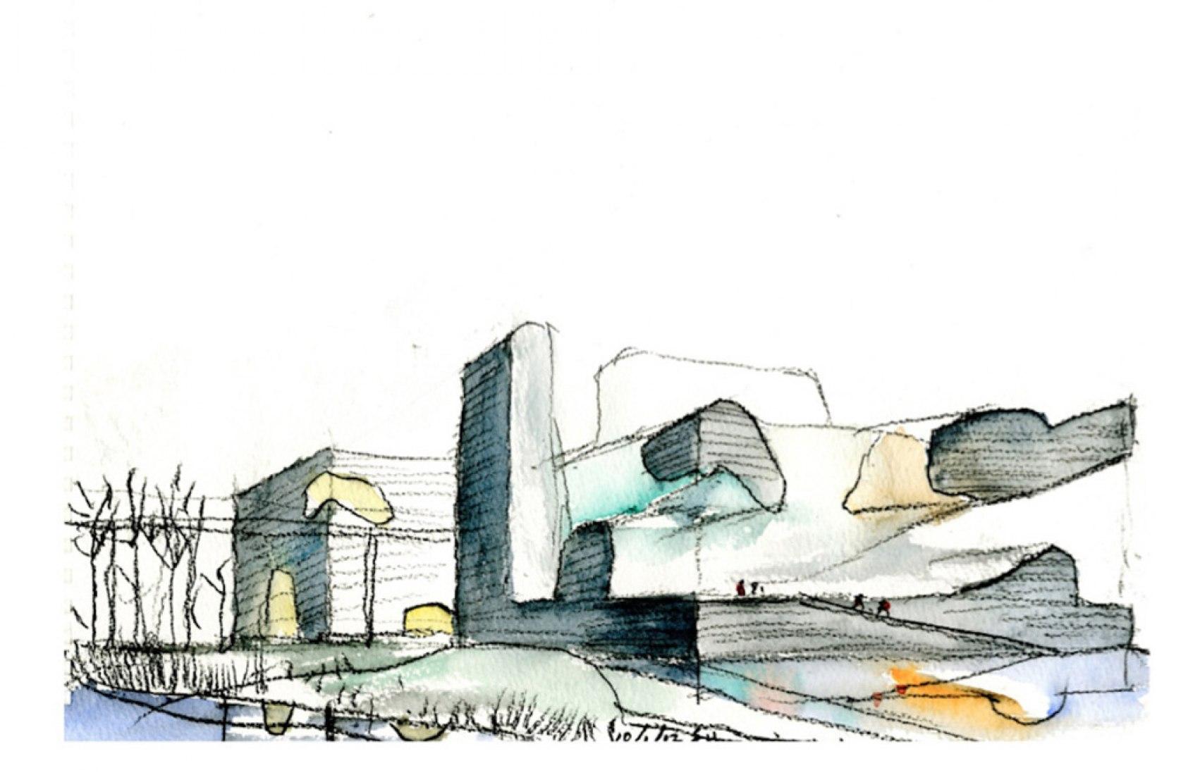 Acuarela. Tianjin Ecociudad Ecología y planificación de Museos diseñados por Steven Holl Architects.