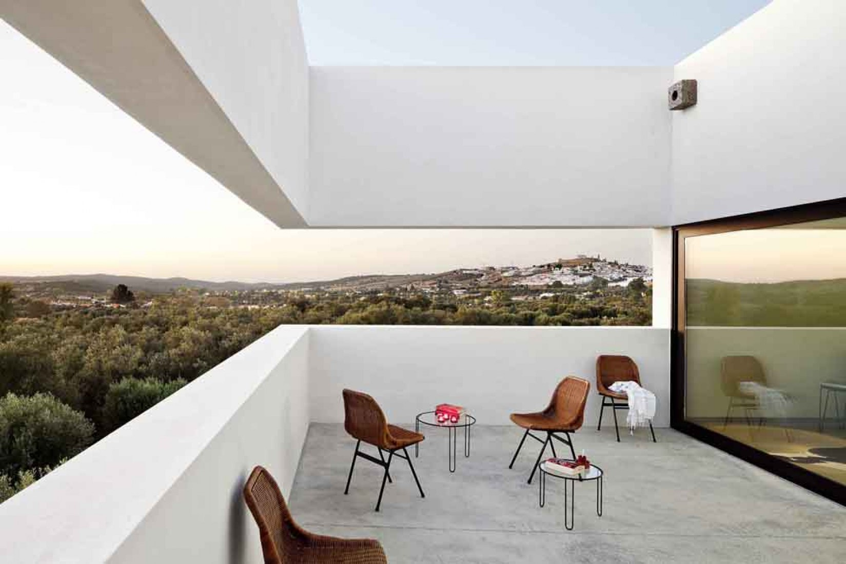Landscape from terrace. Guestroom on the upper level. Villa Extramuros. by Vora Arquitectura. Photography © courtesy of Adrià Goula.