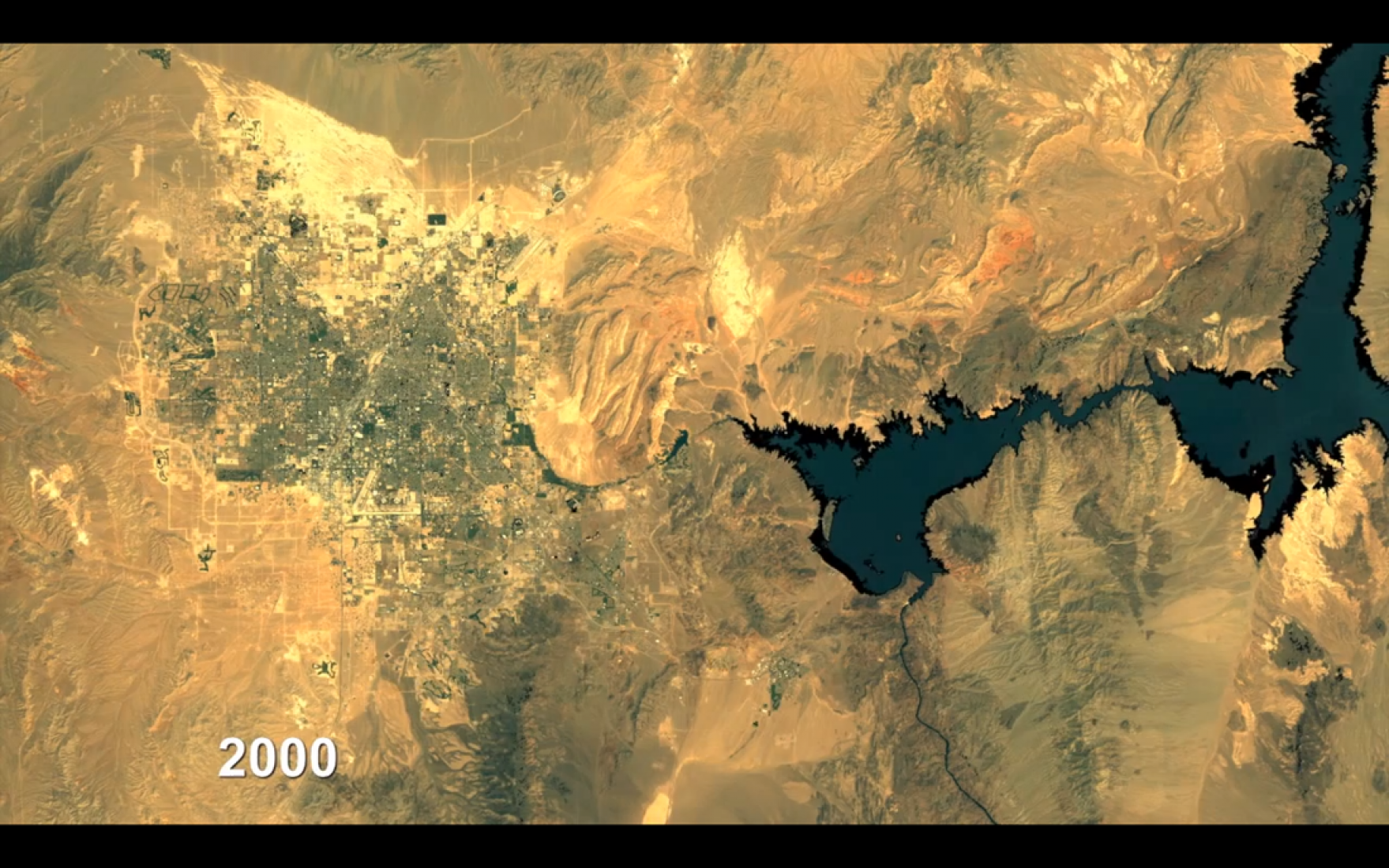 Expansión Urbana de las Vegas en el 2000. Por Google Earth Outreach.Urban Expansion, 2000. By Google Earth Outreach.