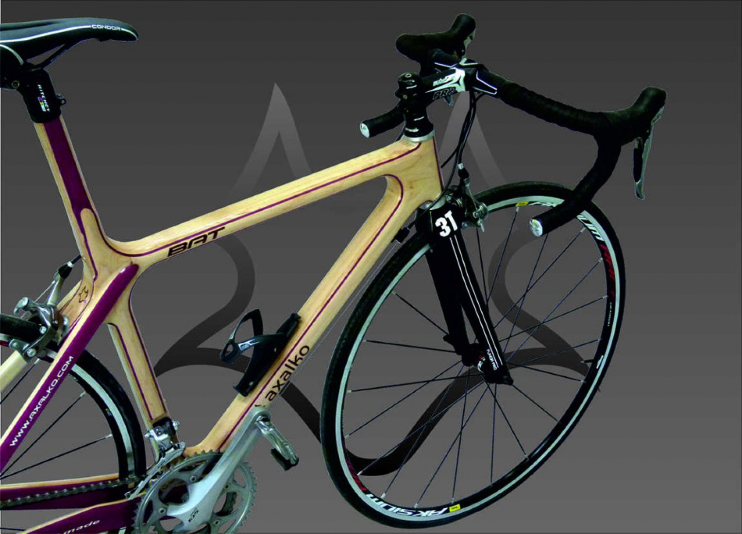 A frame of wood bicycle by Axalko.