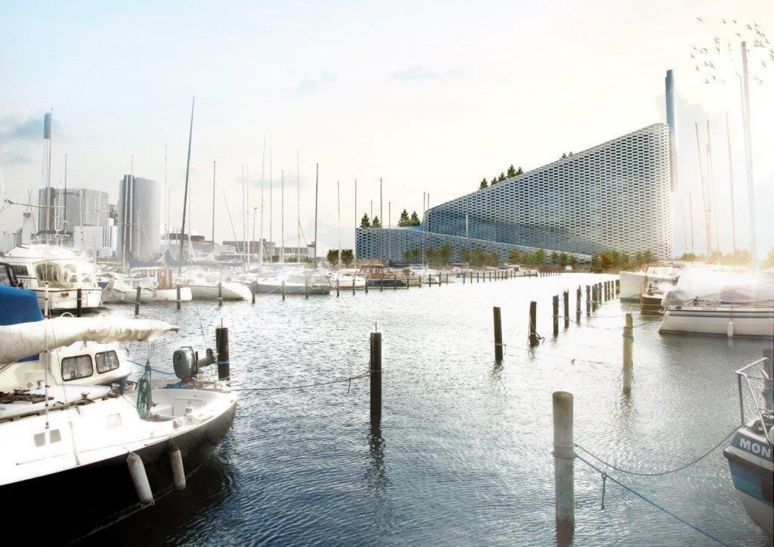Rendering exterior from harbor. Amager Bakke Waste-to-Energy Plant by BIG-Bjarke Ingels Group.