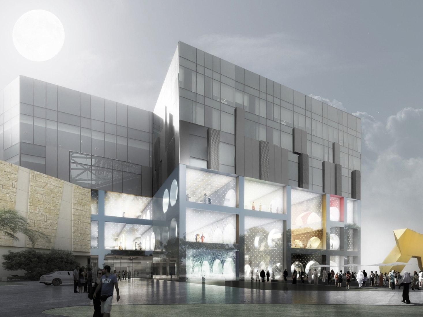 Exterior view rendering. The Exhibition Hall, Kuwait City, by OMA.