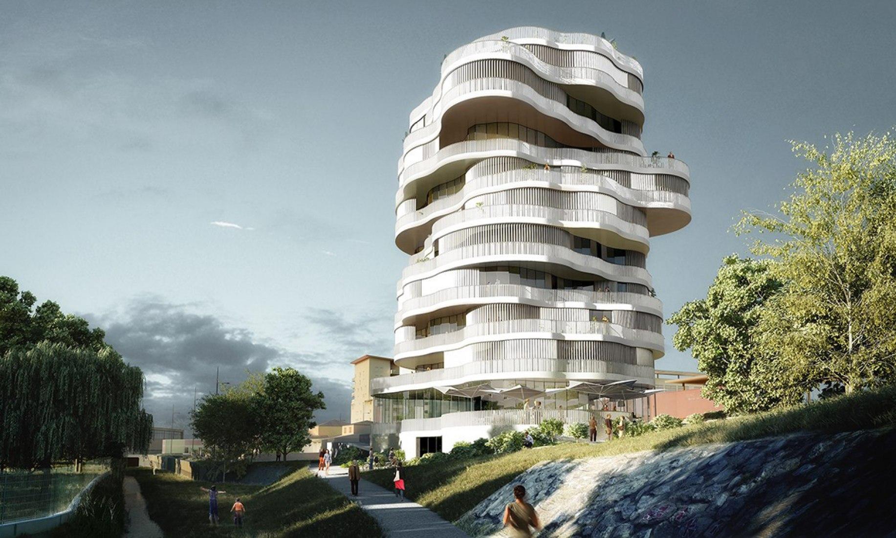 Contexto urbano con el apilamiento de las bandejas. Lot 2, Jardins de la Lironde por Farshid Moussavi Architecture. Imagen cortesía de Farshid Moussavi Architecture.