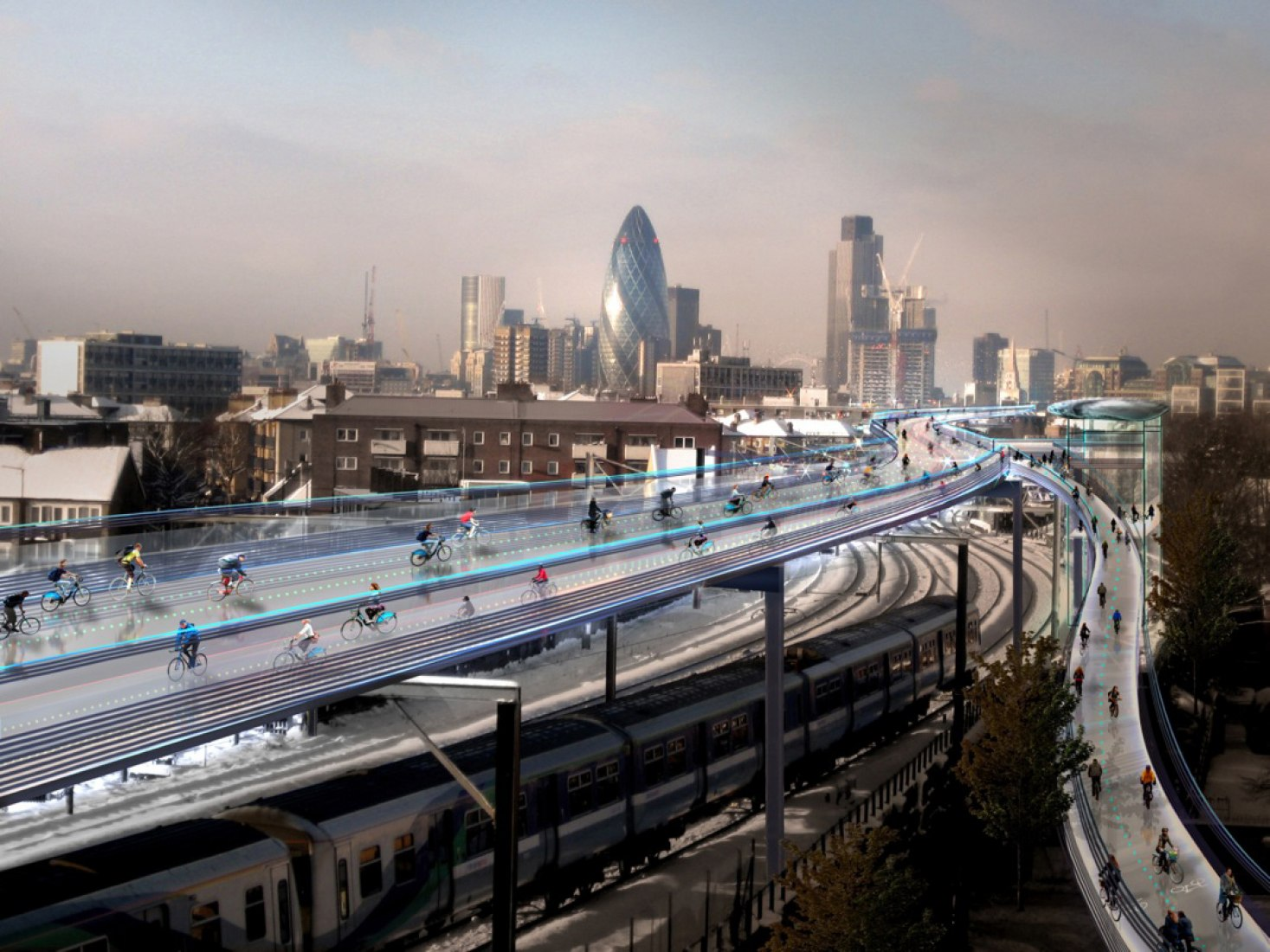 Rendering. Foster proposes a SkyCycle throughout London.
