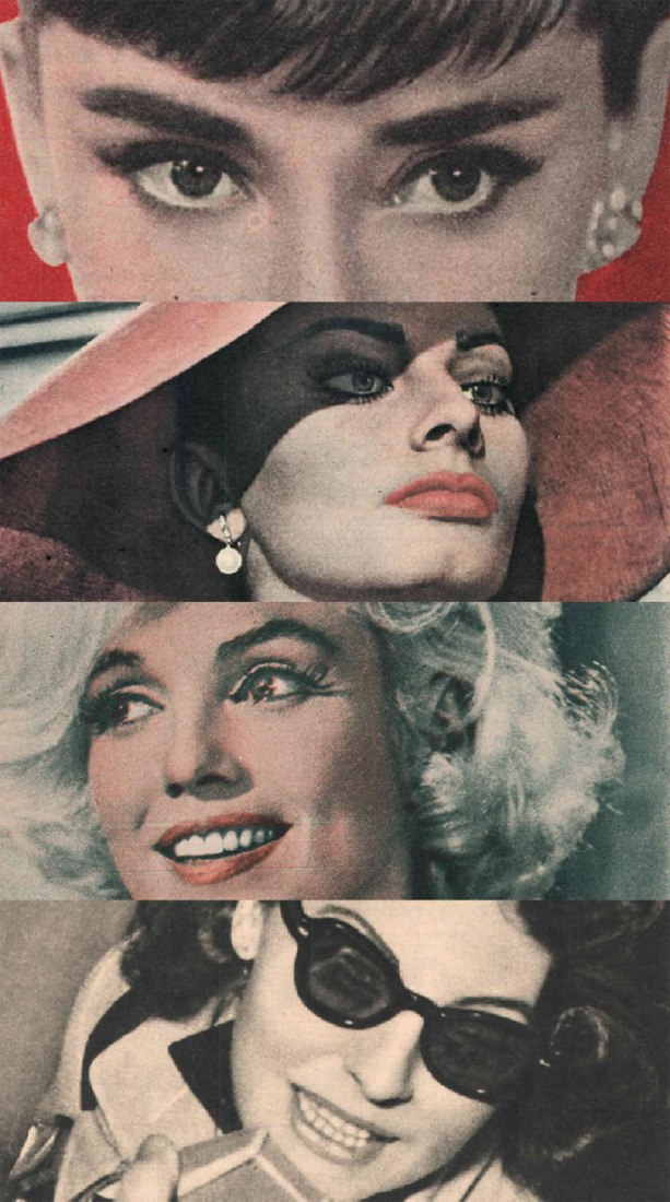 Audrey Hepburn, Sophia Loren, Marilyn Monroe and Ava Gardner. FOTOGRAMAS magazine.  POST-WAR PHOTOGRAMMES, 1946-1962 A tour through film history.