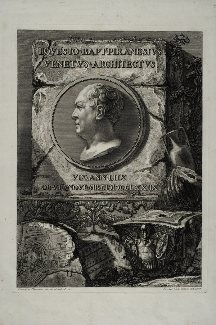 Piranesi (según dibujo de Giuseppe Cades). Retrato de Giambattista Piranesi. Frontispicio de la segunda edición póstuma de Le Antichità Romane (1784), tomo I. Fondazione Giorgio Cini, Venecia.