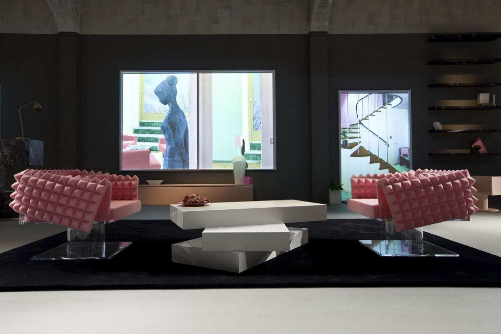 Furniture by OMA during the catwalk Prada Fall/Winter 2013 Menswear Show.