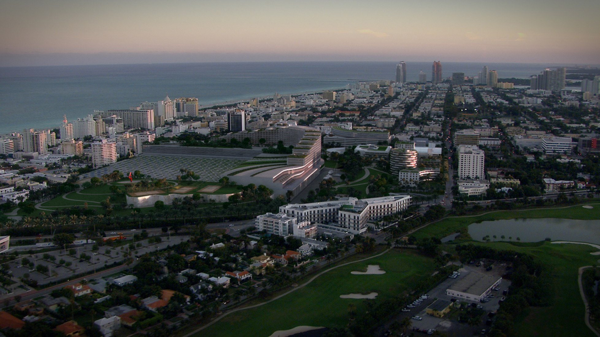 Sunrise vision. Miami Beach Convention Center. Image courstesy of OMA.