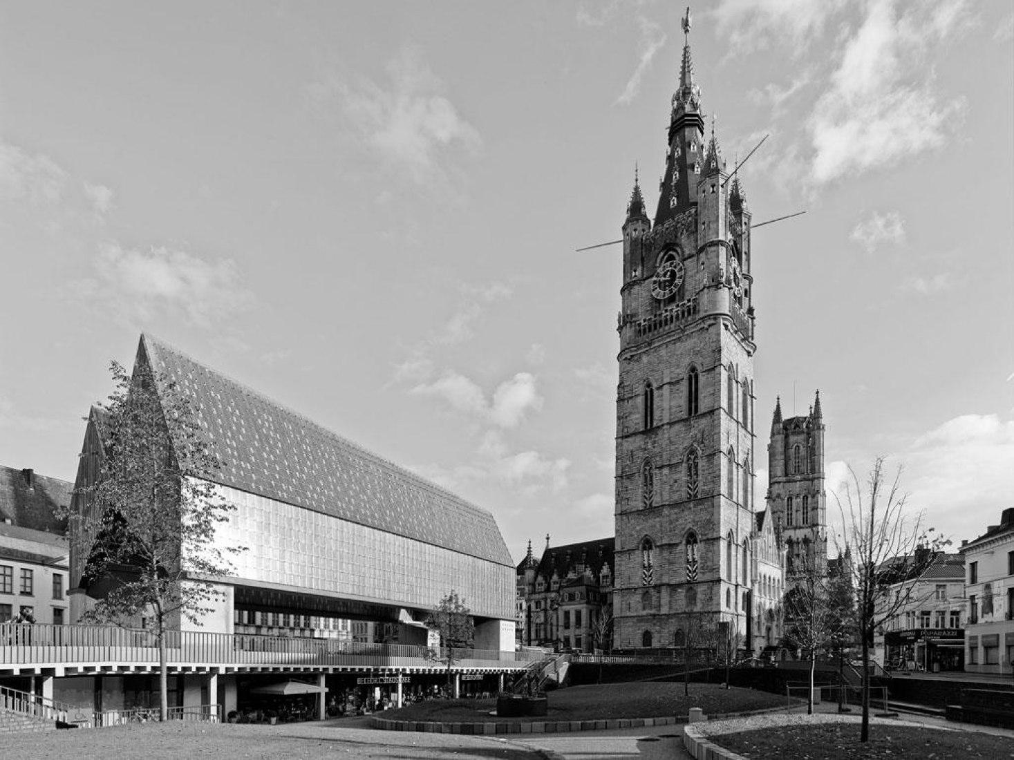 Market Hall. Stadshal Gent. View from Green, Belfry. Photograph © Marc de Blieck.