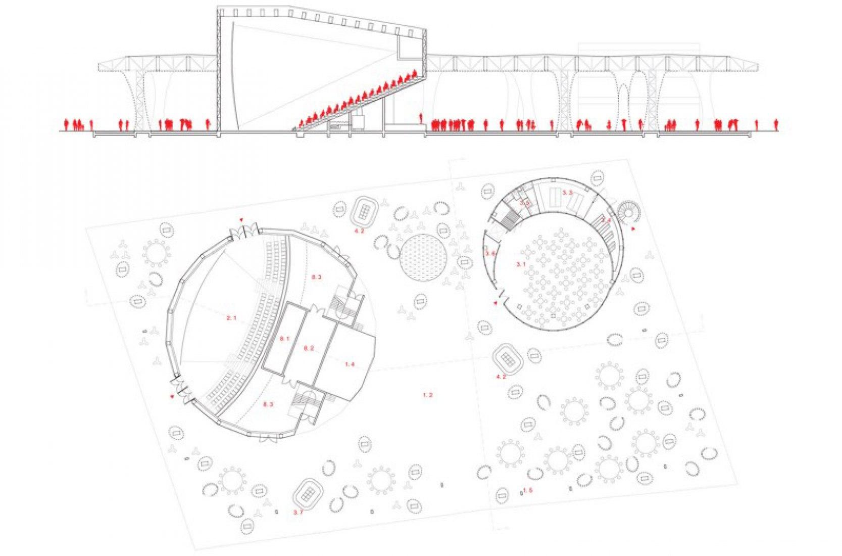 Planta primera. Pabellón de Suiza para la expo de Shanghai. Concurso, seleccionados para la 2 ª fase, 5 º premio.