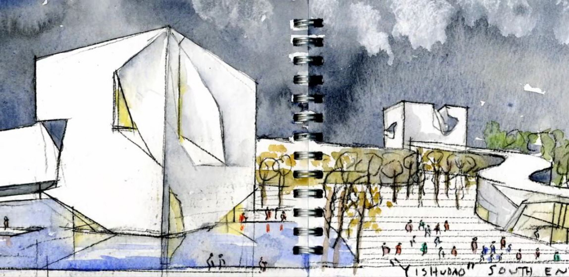 Watercolor and sketch project by Steven Holl Architects.