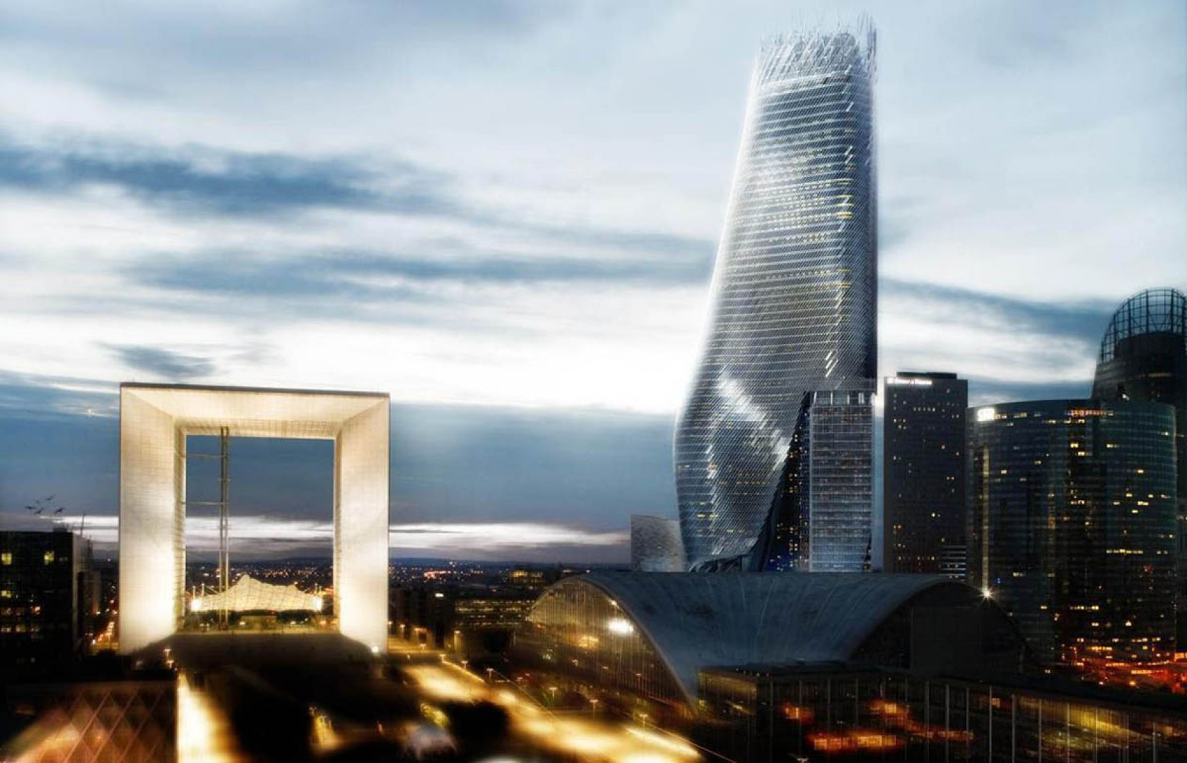 Images of competition-winning tower for the La Défense business district in Paris by Tom Mayne. 2010