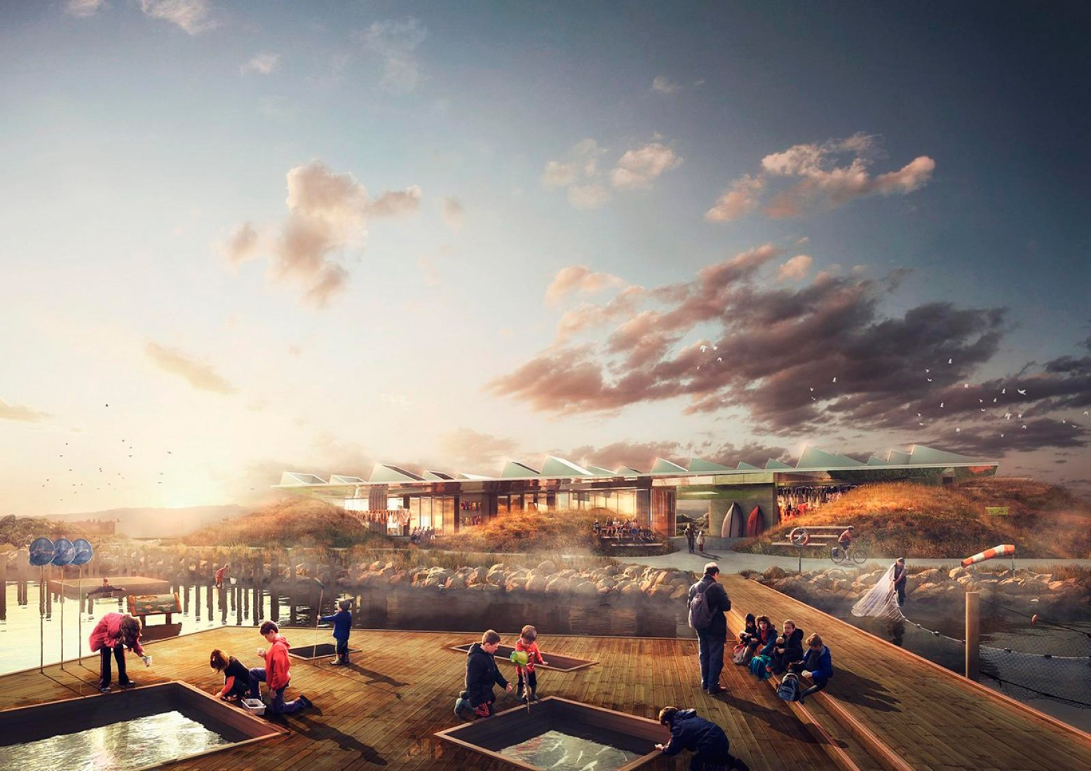 Sunset rendering. Marine Education Centre by NORD Architects.