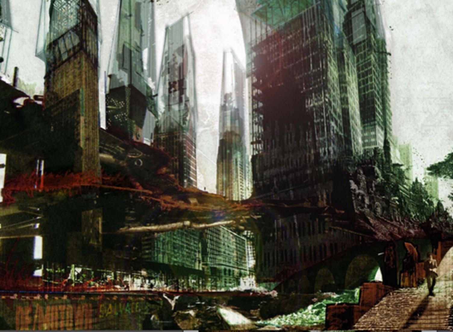 PRIMER PREMIO. Propuesta titulada:  Demotown: A Retroactive Arcology for Detroit. Autor: Honsa, Jesse Foster, Suiza. Coautors:Mahoney, Gregory John, EE.UU.