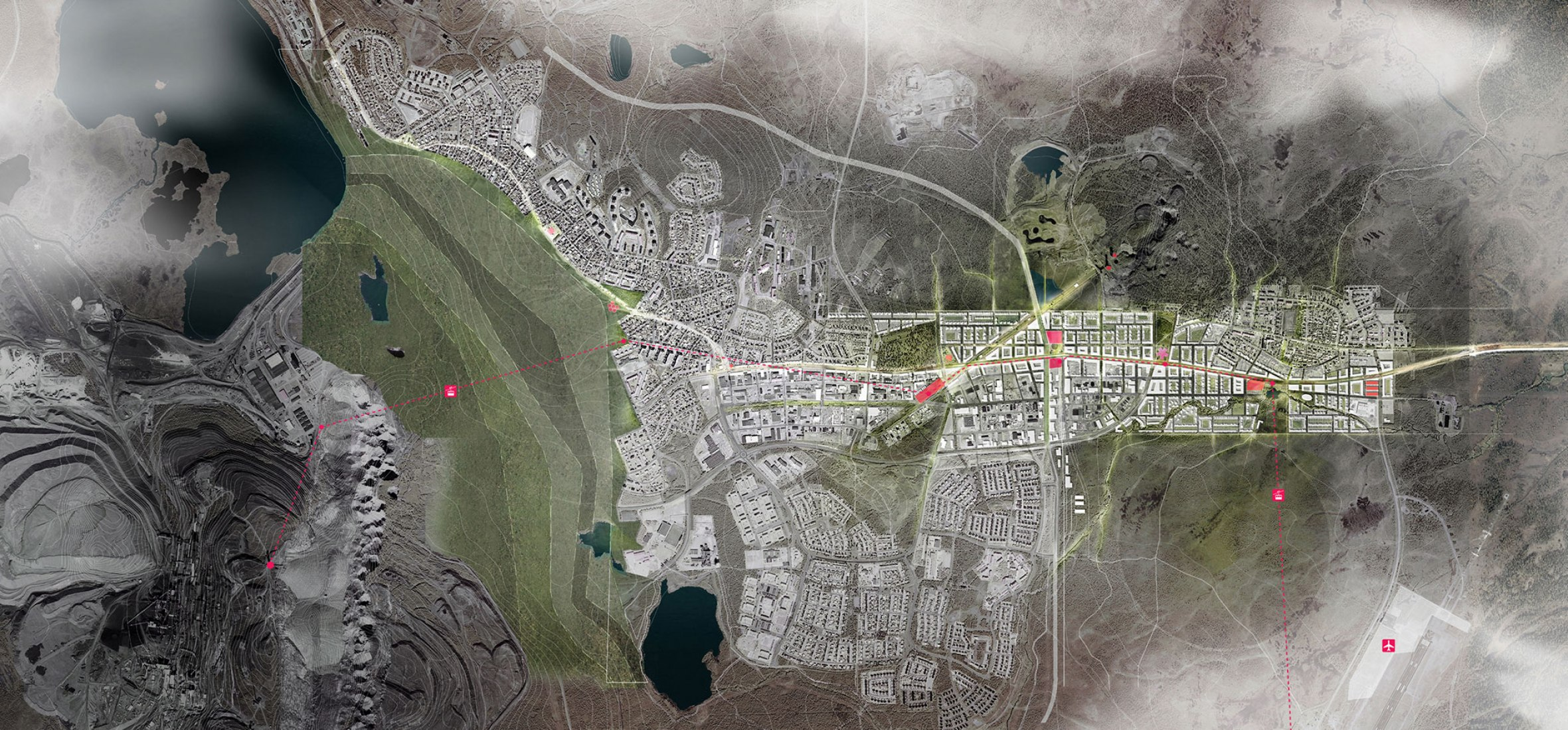 Overview. New Kiruna project. Image courtesy of White and Tegmark.