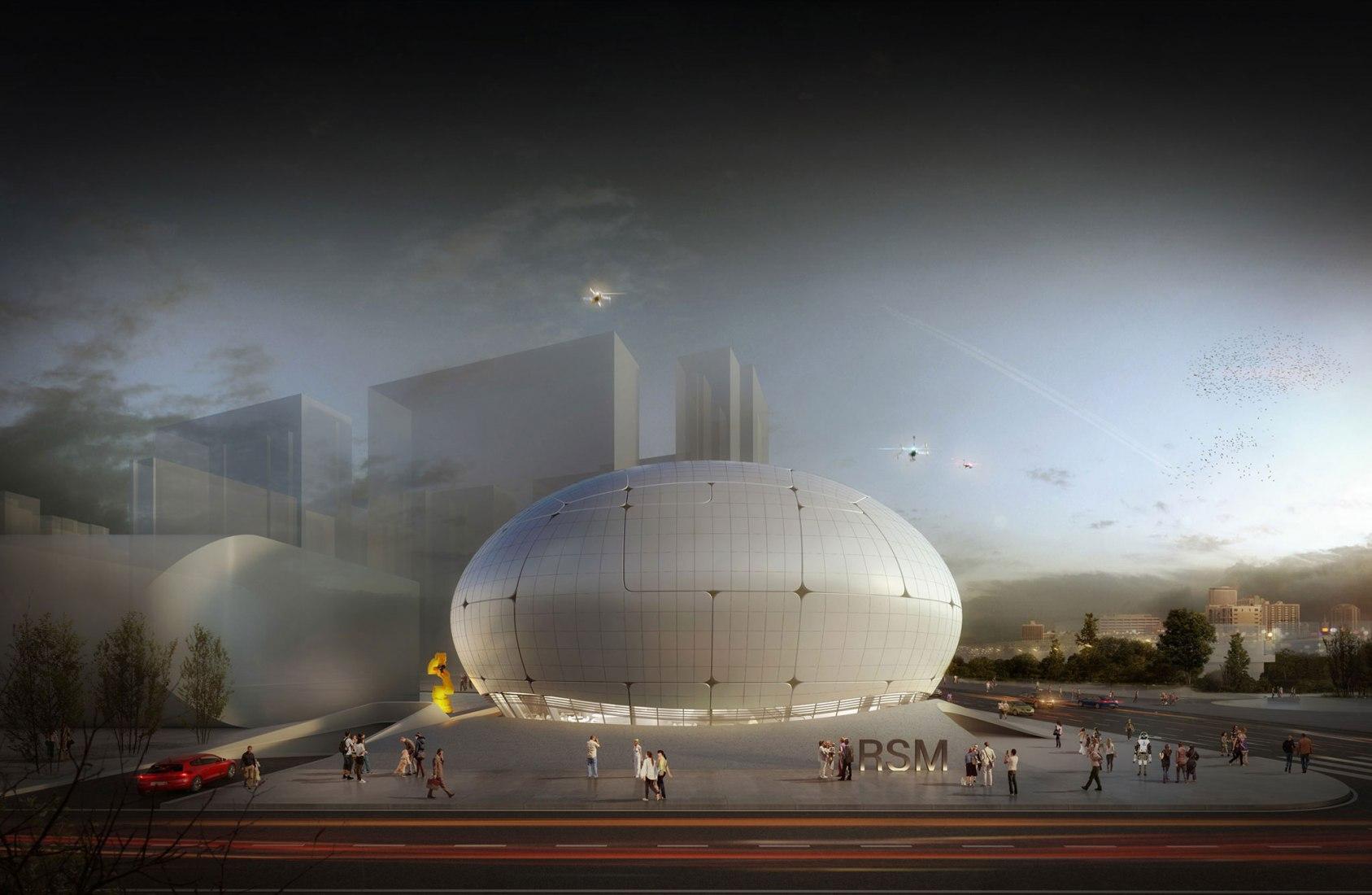 Exterior rendering view. Robot Science Museum by Melike Altınışık Architects