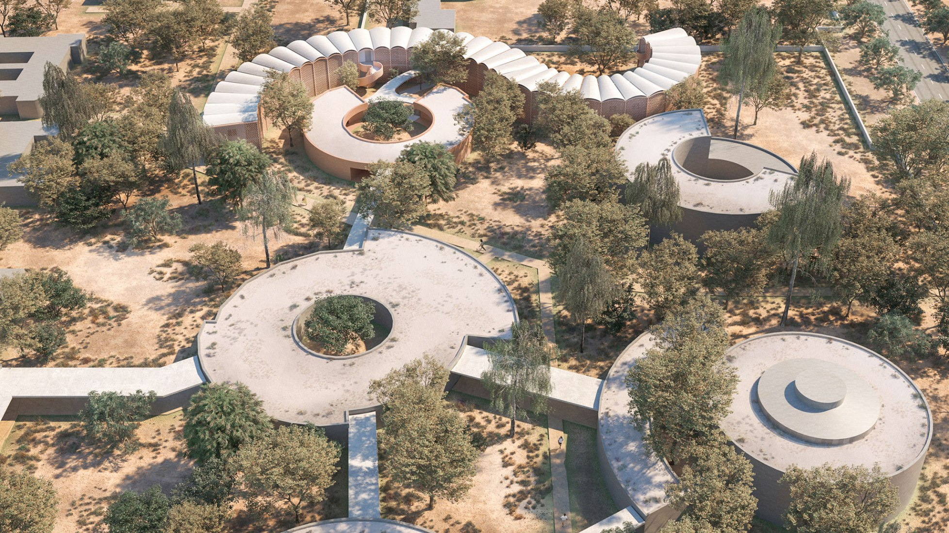 Rendering. Tambacounda Hospital by Manuel Herz Architects. Image by Play-Time