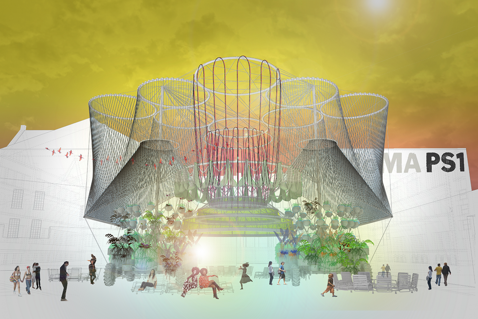 Rendering of Andrés Jaque/Office for Political Innovation's COSMO, winning design of the 2015 Young Architects Program. The Museum of Modern Art and MoMAPS1. Image courtesy of Andrés Jaque/Office for Political Innovation