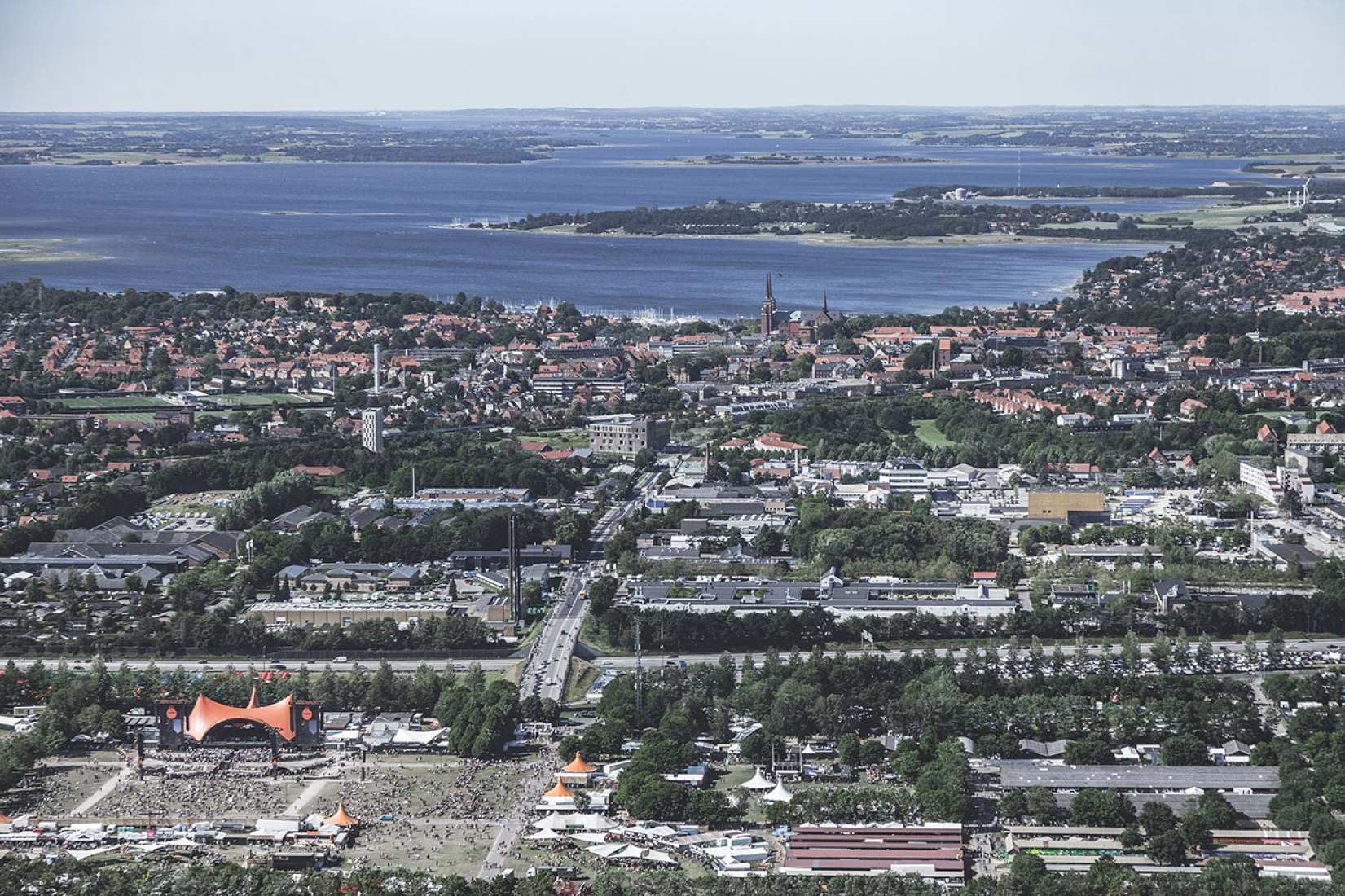 Aerial view. New Rock Music Museum by COBE and MVRDV. Photography © Rasmus-Hjortshøj, COAST-Studio, COBE and MVRDV.