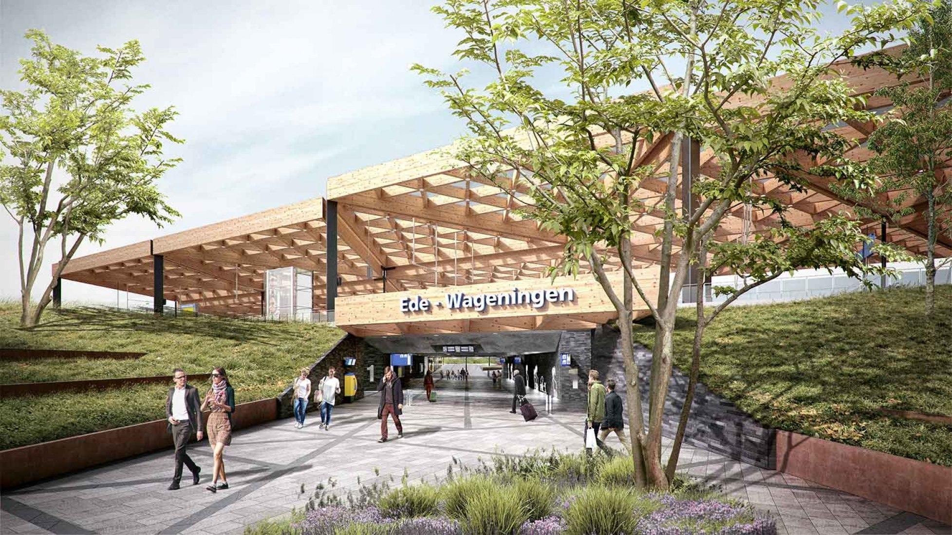 Visualización. Estación de tren Ede Wageningen por Mecanoo.