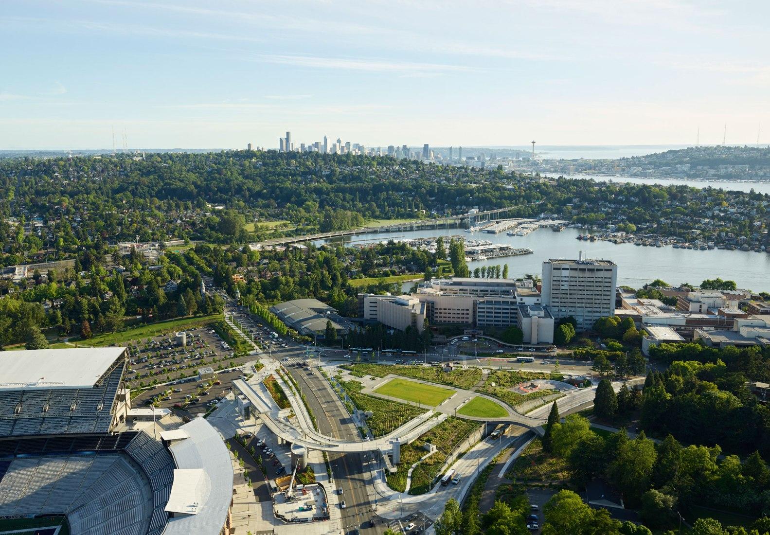 Aerial view. Sound Transit University of Washington Station by LMN Architects. Photography by KevinScott