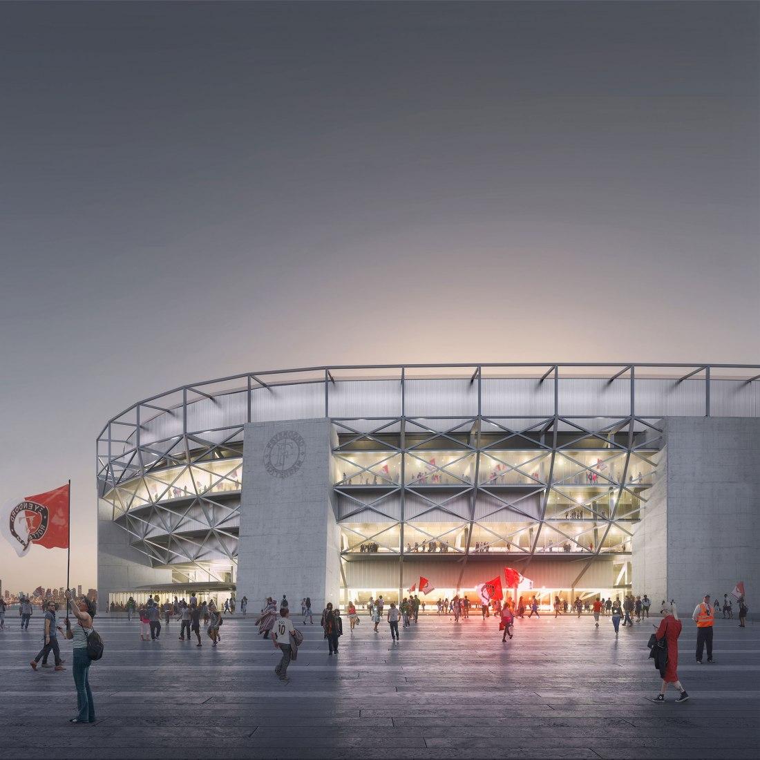 Visualización. Nuevo estadio del Feyenoord City por OMA. Imagen por Frans Parthesius, cortesía de OMA
