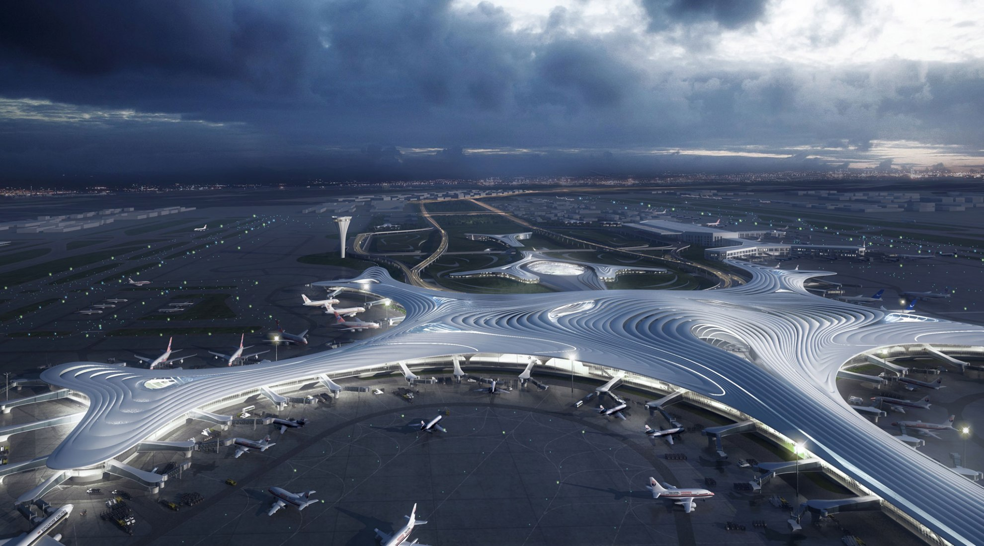 Rendering. Harbin Airport Terminal Three by MAD Architects