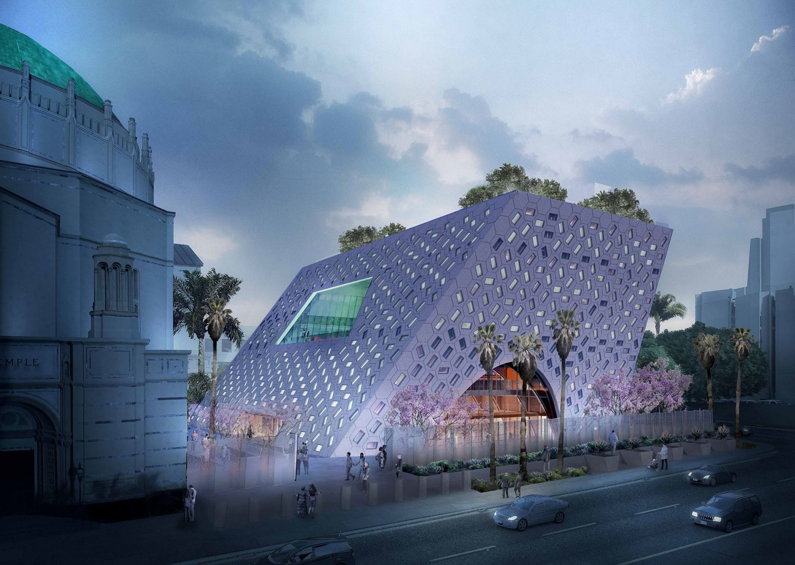 Pavilion design for Wilshire Boulevard Temple by OMA. Image courtesy of OMA New York