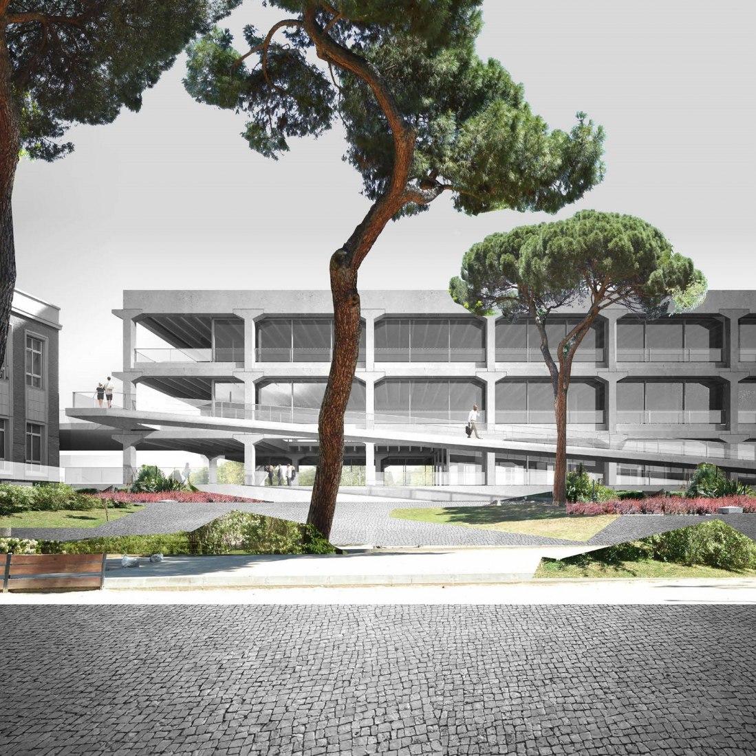 Visualización de la nueva escuela de arquitectura por Emilio Tuñón. Imagen cortesía de UPC