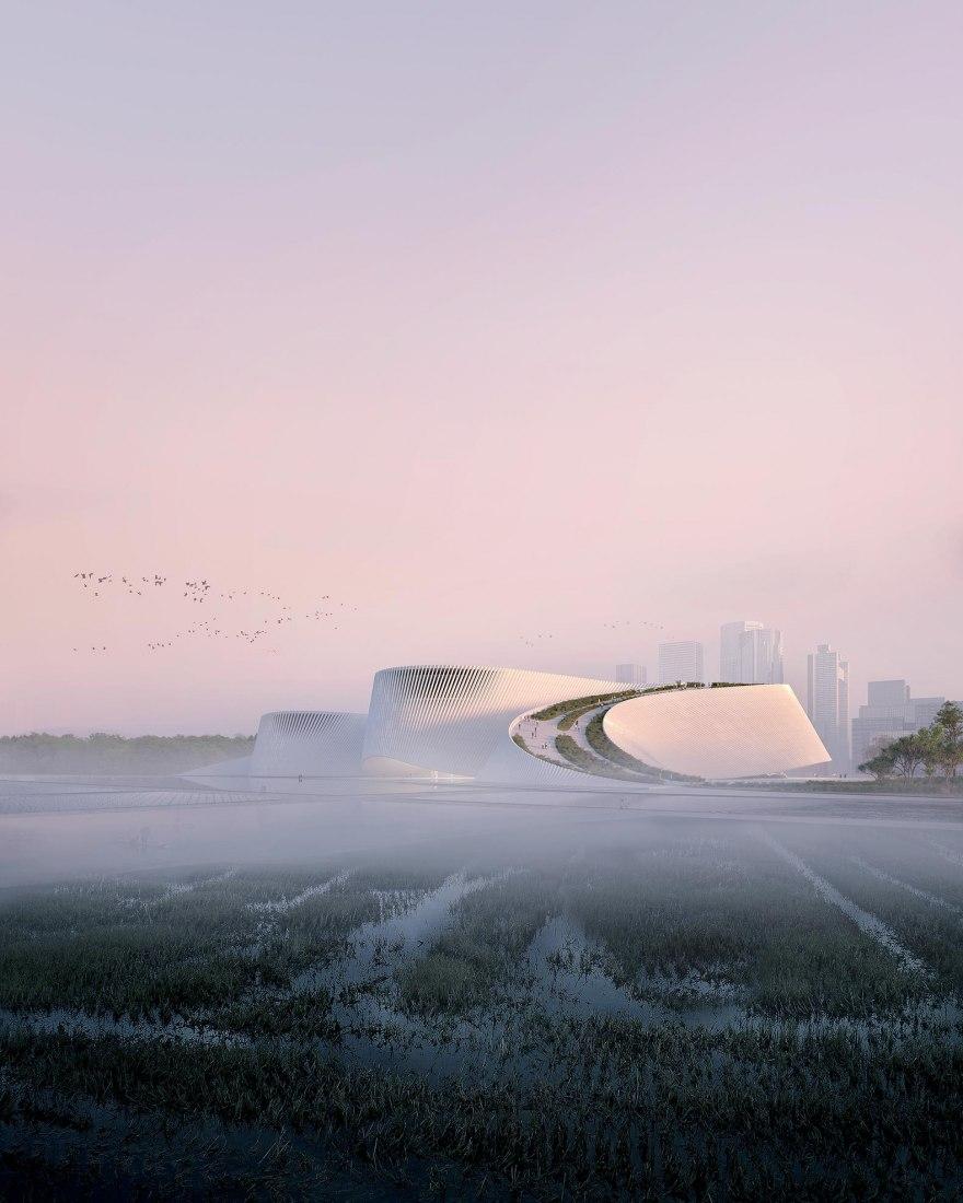 Visualización. Nuevo Museo de Historia Natural de Shenzhen por 3XN, B+H, y Zhubo Design. Visualización por 3XN
