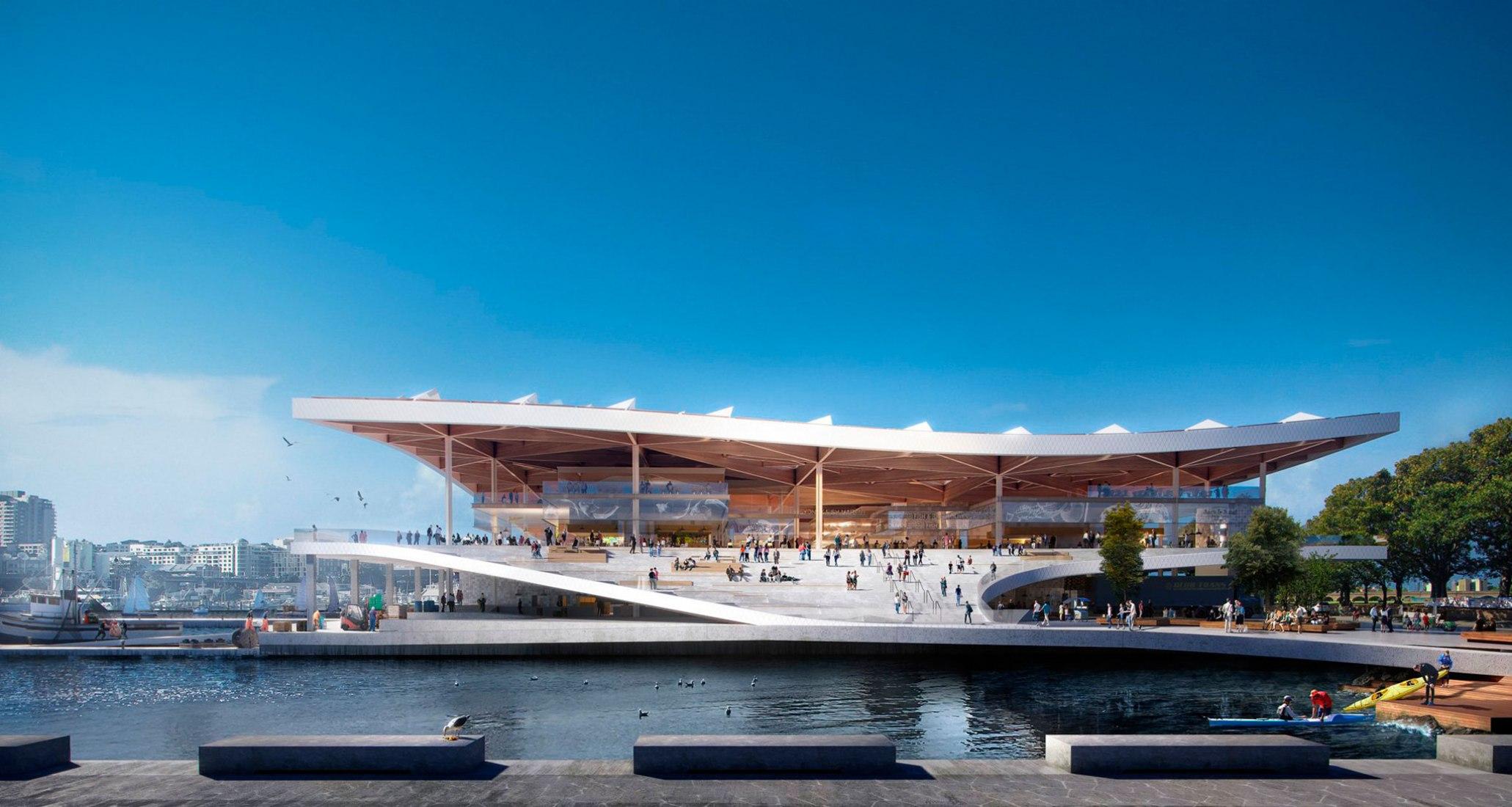 Las plazas en cada extremo del mercado de pescado permiten reuniones informales y recreación contemplativa para crear más conexiones entre el público y el agua. Nuevo mercado de pescado de Sídney por 3XN