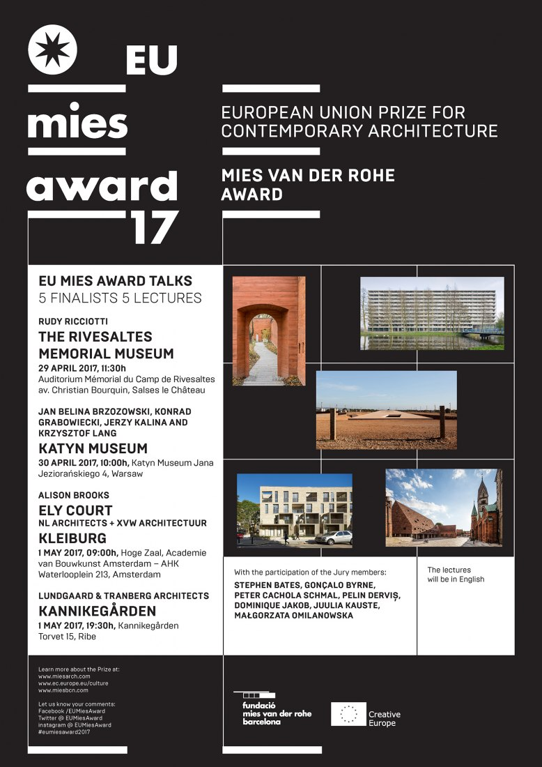 Poster. EU MIES AWARD TALKS: 5 lectures, 4 cities, 3 days
