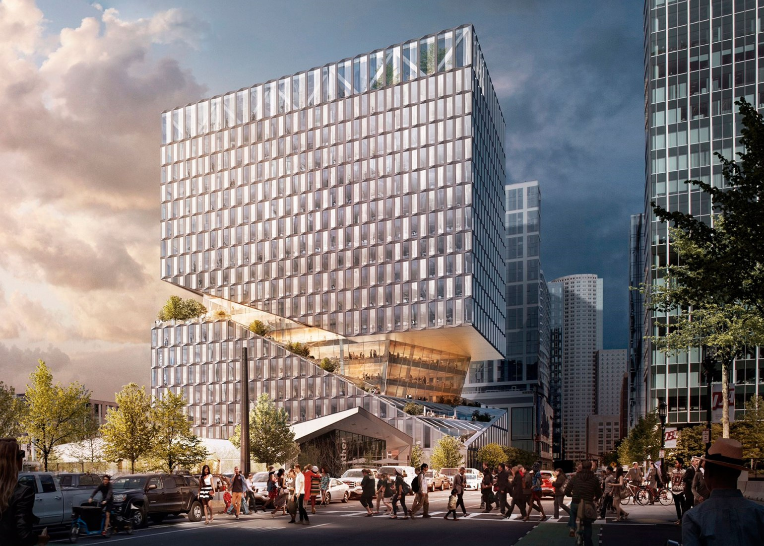 Rendering of 88 Seaport Boulevard, a mixed-use retail and office project designed by OMA and developed by WS Development in Boston's Seaport neighborhood. Image © OMA. Rendering by Bloom