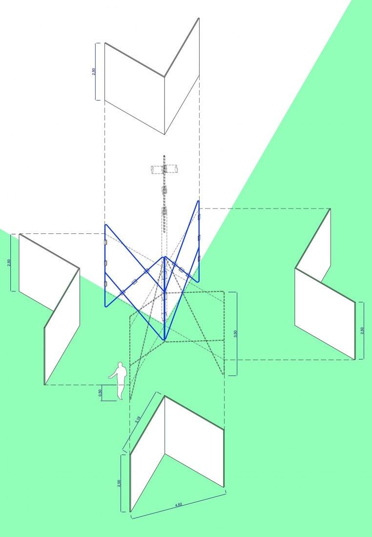 Modulo, vista axonométrica. Diseño Expositivo del Museo de Arte Iberoaméricano-UAH por Alejandra Navarrete y Jaime Yndurain.
