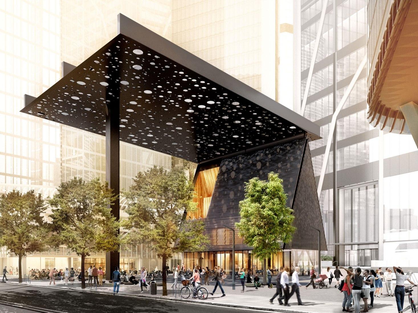 Rendering. New Sydney Plaza Adjaye Associates+ Daniel Boyd. Image courtesy of Adjaye Associates