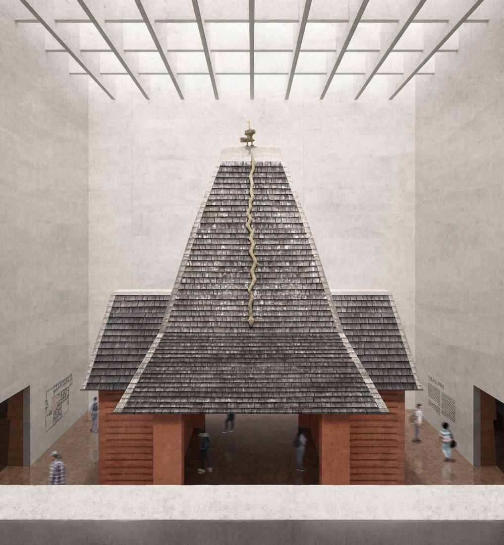Visualización del pabellón Royal Spire propuesto reconstruido. Imagen de Adjaye Associates
