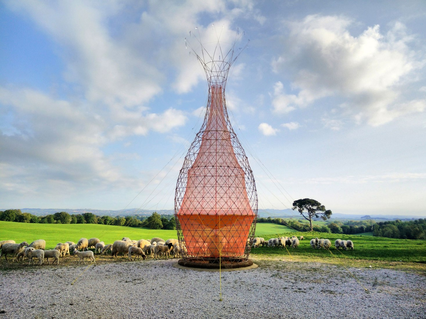Sheep around Warka. Warka Water by Arturo Vittori. Photograph © Architecture and Vision / Arturo Vittori.
