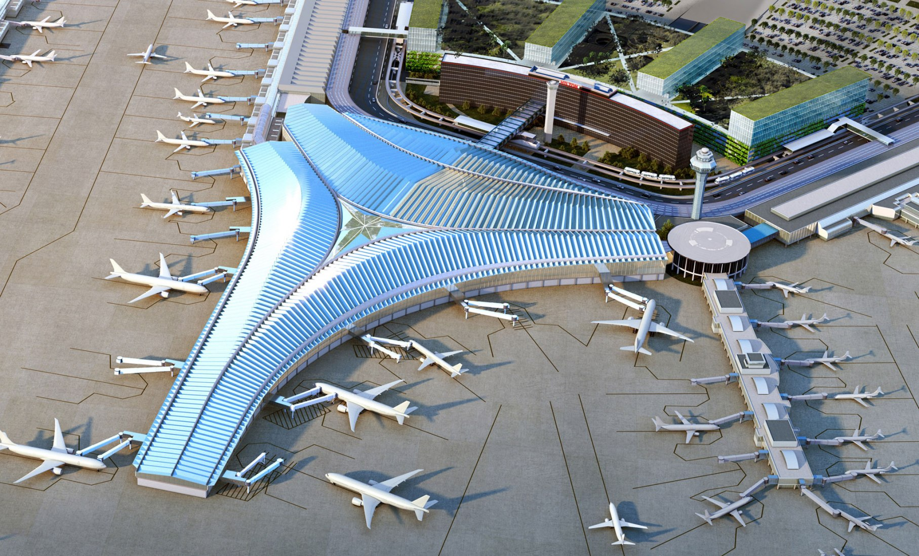 Modeling. Chicago O'Hare Airport Expansion by Studio Gang.