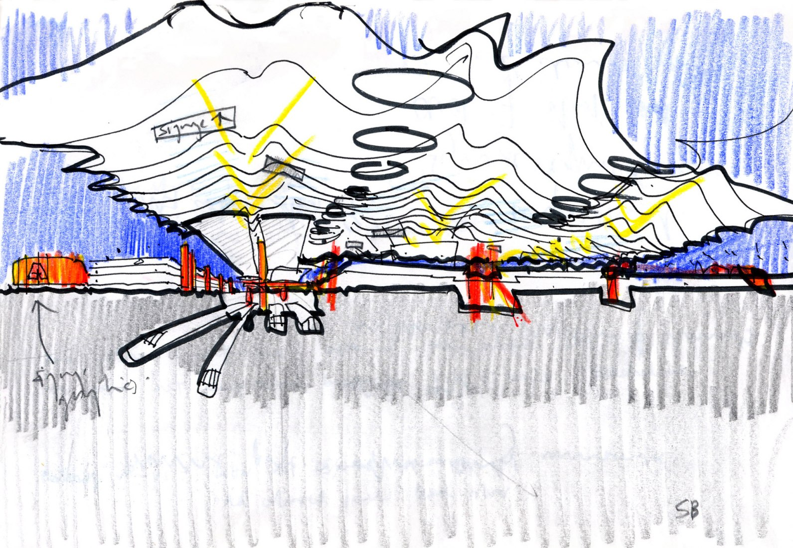 Sketch. T4 Madrid Barajas Airport by Rogers Stirk Harbour + Partners and Estudio Lamela.