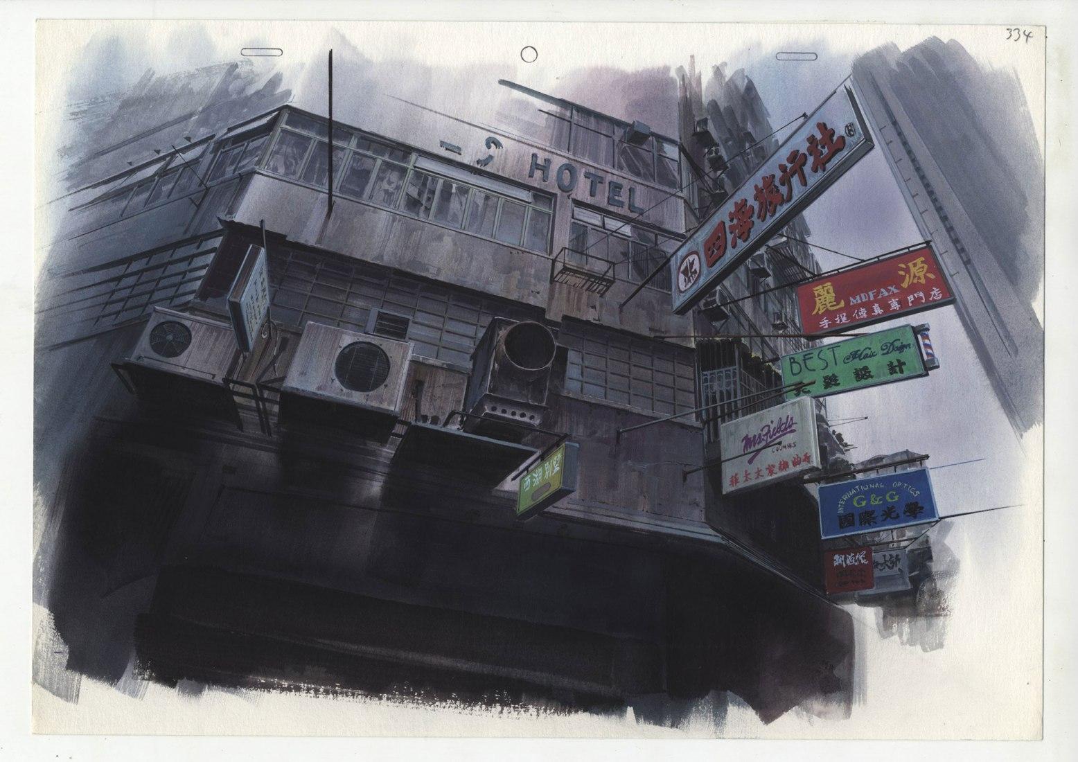 Ilustración de fondo para Ghost in the Shell de Hiromasa Ogura © 1995 Shirow Masamune / KODANSHA · BANDAI VISUAL · MANGA ENTERTAINMENT Ltd