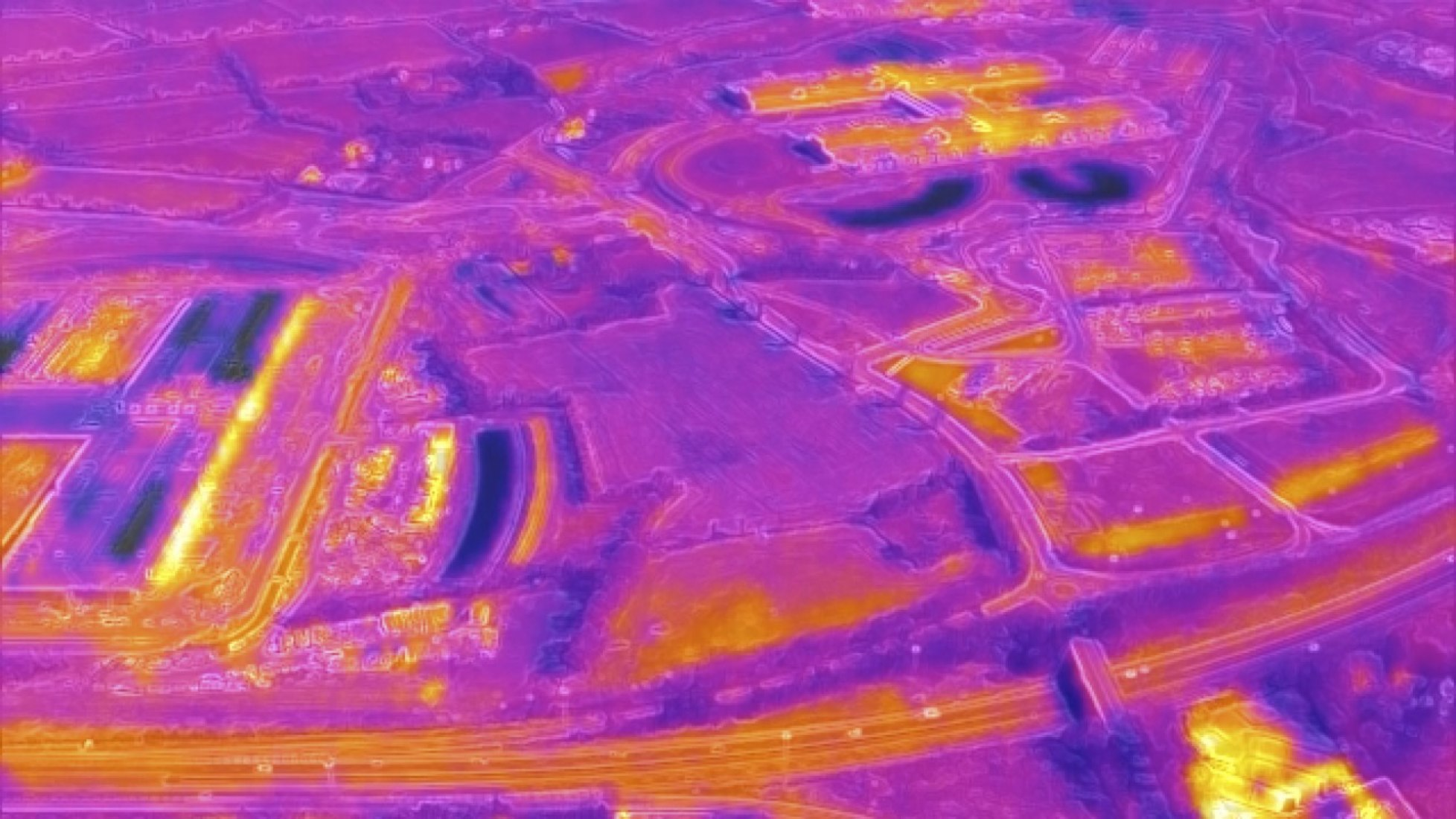 Drone thermographic image of agricultural land in Ireland, highlighting the heat generated from data infrastructure. Pavilion of Ireland at the International Architecture Exhibition of La Biennale di Venezia by ANNEX. Image courtesy of ANNEX