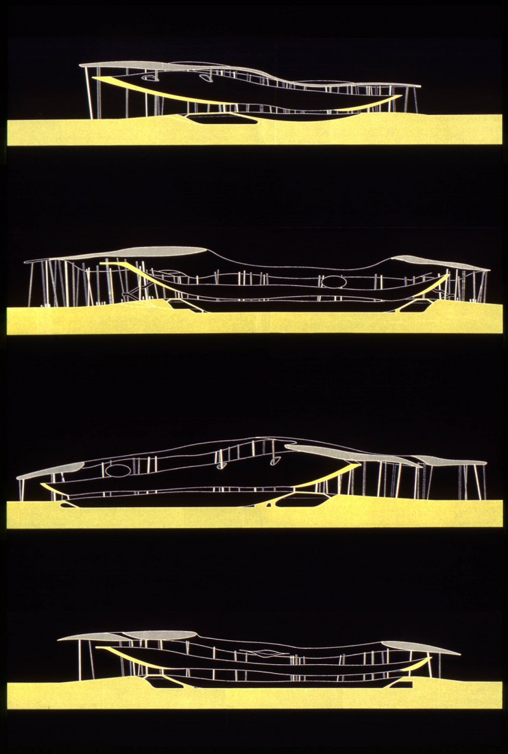 Sections of the Chemnitz Stadium by Peter Kulka with Ulrich Königs, 1995. Photograph Gift of Ulrich Koenigs. © Peter Kulka with Ulrich Koenigs. Image courtesy of Canadian Centre for Architecture, Montreal.