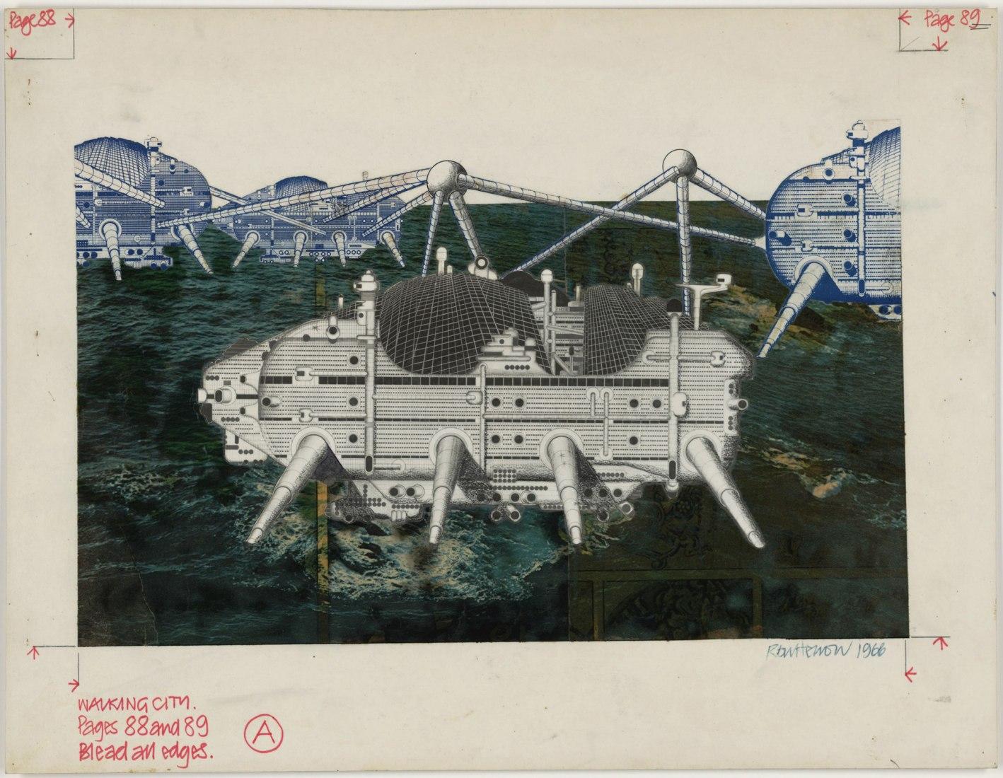 Archigram, Ron  Herron, Walking City on the  Ocean Project, 1964 -1966