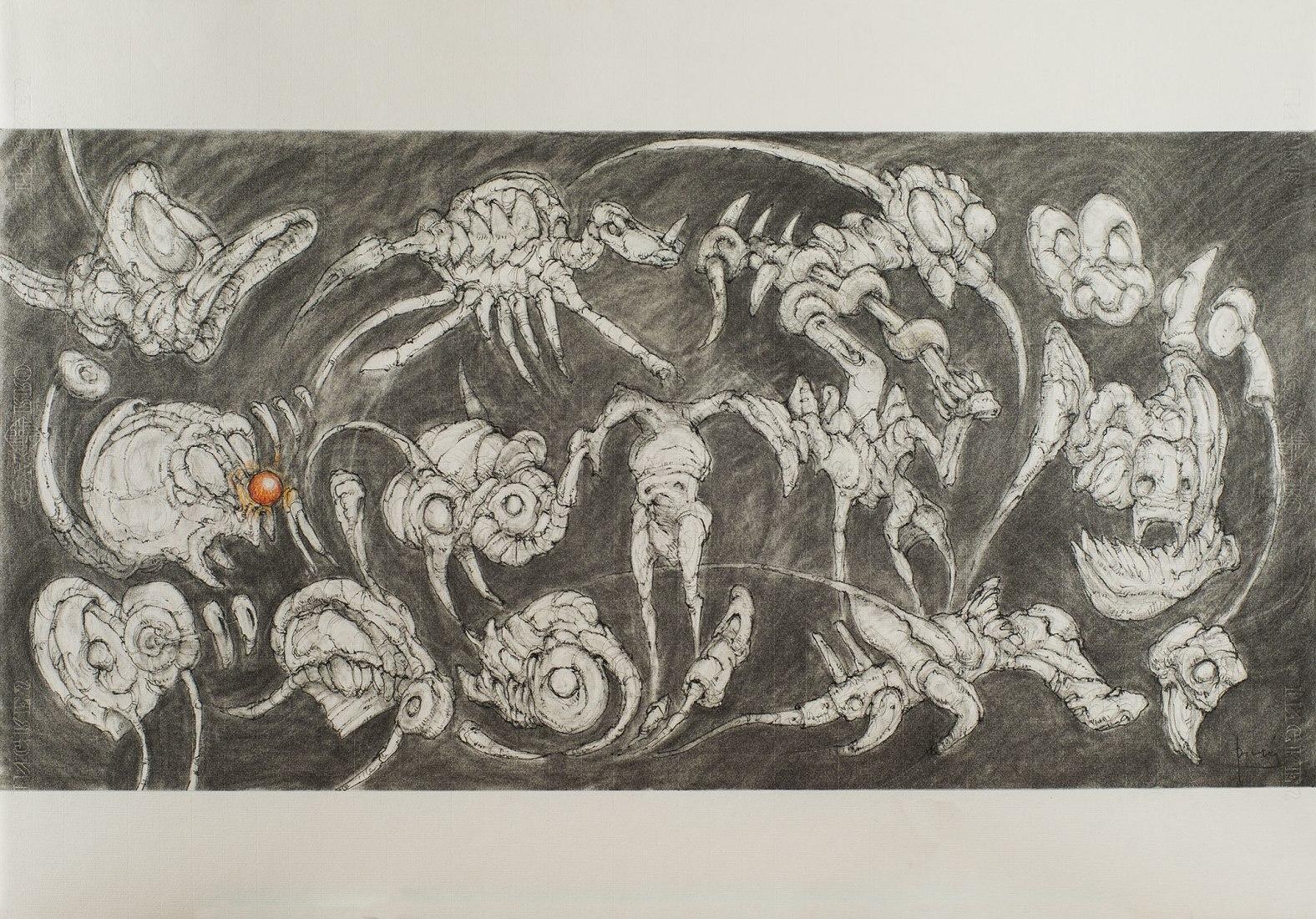 Todo cuanto tiene forma puede desaparecer en un instante II, Carboncillo, pastel y grafito sobre papel Ingres Guarro (70,0 x 100,0 cm). Arquitectura y otros animales por Fernando Díaz-Pinés Mateo