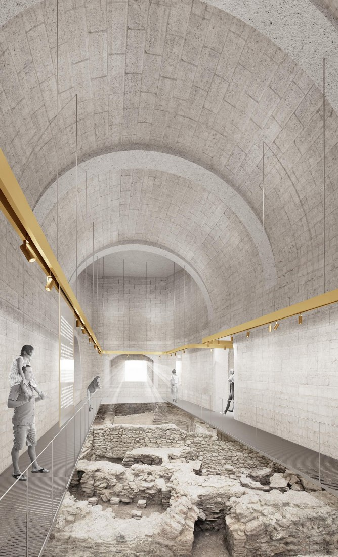 Inside view, rendering. Interpretation center of the city of Ceuta in the old bastion of the Flag and Royal Walls, by Ayllón, Paradela, De Andrés