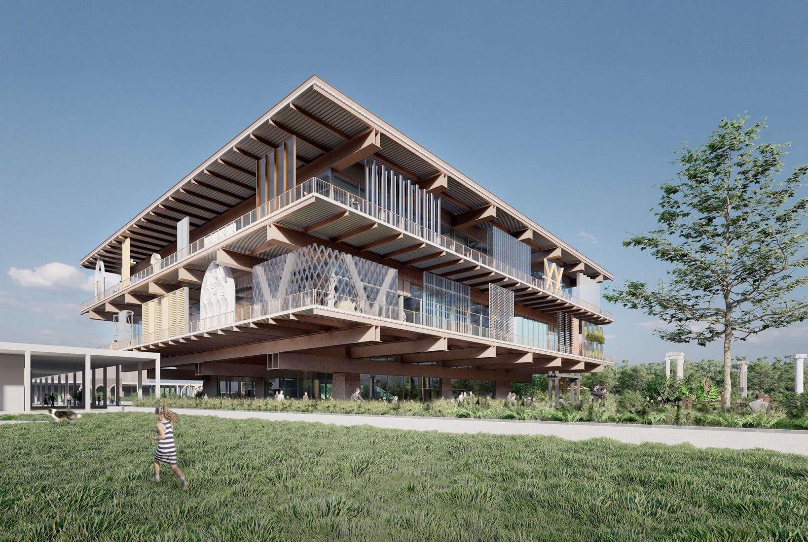 Visualización en esquina. Museo Coreano de Urbanismo y Arquitectura por AZPML + UKST